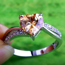 Trendy Silver cocktail ring with Champagne colored Morganite and white Topaz