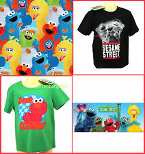 Sesame Street Elmo Cotton T Shirt Top Kids Black Green Child Sizes 3-6y Boys Tee