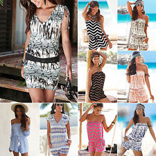 Womens Sexy Playsuit Jumpsuit One-Piece Romper Casual Shorts Beach Mini Dress