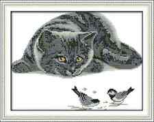 Kit broderie point de croix imprimé/compté,11CT/14CT, The cat ,Cross Stitch kit