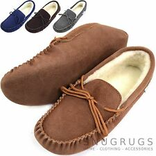 Mens Genuine Suede Moccasin Sheepskin Slippers Soft Suede Sole Sizes 6 - 15