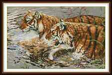 Kit broderie point de croix imprimé/compté,11CT/14CT, Tigers ,Cross Stitch