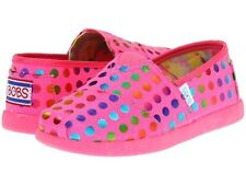 SKECHERS KIDS Girls Lil Bobs World 85060L slip on neon pink fabric casual shoes