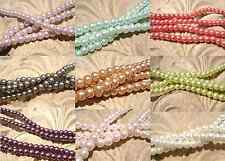 Beads Pearl Pearlescent Glass, 4mm Round, 30 inch Strand MANY COLORS