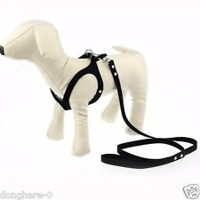 Dog Harness Small and Leash set Soft Vest Leather Puppy Pet Harness W/110cm Lead