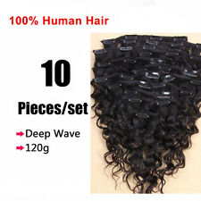 Full Head Virgin Deep Wave Curly Clip in Human Hair Weft Extensions 120g Black