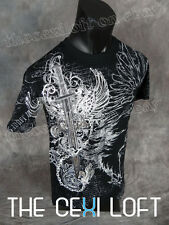 NEW MENS KONFLIC GRAPHIC T-SHIRT Sword Black with Silver Foil Highlights UFC MMA