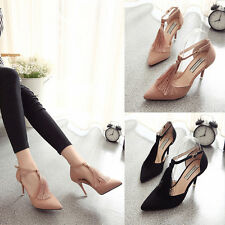 Women's OL  Tassel T-band Cusp High heels Sexy Fine with Graceful Ladies Shoes G