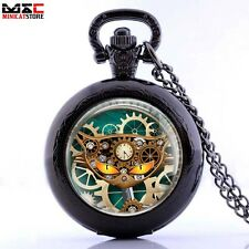Vintage Gear Cat Pendant Pocket Watch Quartz Steampunk Necklace Chain Retro Gift