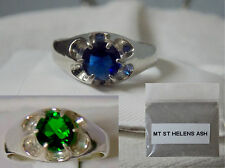 1ct blue or green helenite 925 sterling silver ring size 6.5 mt st helens ash