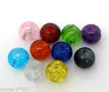 Wholesale JD Mixed Crackle Glass Round Beads Findings 6mm