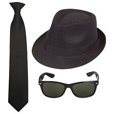 Blues Brothers Movie Film Fancy Dress Costume Set. Hat / Tie / Sunglasses
