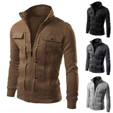 Mens New Basic Jacket Slim Fit Collar Casual Coat Outwear Overcoat Fashion Tops