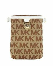 MICHAEL KORS SIGNATURE JAQUARD MK LOGO FANNY PACK BELT BAG BROWN WHITE 551501