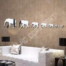 Home Decorating Elephant Pattern Acrylic Mirror Wall Decal Art Stickers Decals