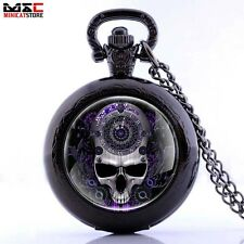 Vintage Skull Head Quartz Steampunk Pocket Watch Necklace Chain Pendant Gift Men