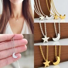 Elegant Women's Silver Gold Chain Moon Star Pendant Charm Necklace Jewelry Gift