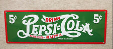 PEPSI COLA 5 CENT SIGN GREEN TIN METAL EMBOSSED SODA DOUBLE DOT MAN CAVE DECOR