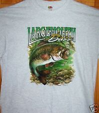 LARGEMOUTH BASS Light Grey T Shirt Sz SM - 6XL Hiding In The Weeds Fishing