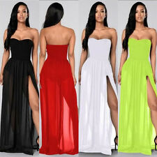 Sleeveless Women Fashion Sexy Party Dress Summer Casual Slit Shoulder Off Maxi G
