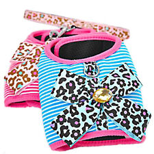 Leopard Bow Pet Collar Puppy Dog Harness Control Leash Dog Harness Vest Clothes