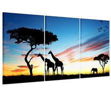 Sunset Trees Giraffe Huge Home Decor Modern Canvas Wall Art Oil Painting Picture