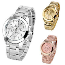 Chic Geneva Womens Mens Unisex Stainless Steel Bling Analog Quartz Wrist Watch