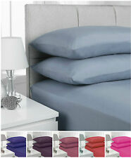 Plain Dyed Fitted Sheet Polycotton Bed Sheet Single Double King & Pillowcase