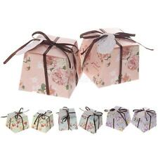 50pcs Romantic Floral Trapezoid Wedding Pageant Candy Gift Boxes Ribbons Tags