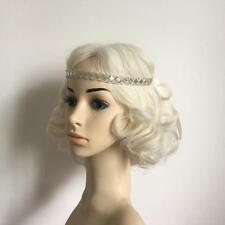 Wedding Bridal Forehead Wear Hairband Tiara White Crystal Beaded Ribbon Headband