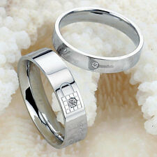 Lovers Lock Key Silver Crystal Couple Rings Her and His Promise Ring Band