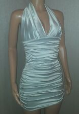 VICKY MARTIN sexy silver satin mini bodycon halter dress 8 10 12 BNWT CLUB PARTY