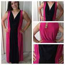 WOMENS PLUS DRESS 2X MAXI NEW BLACK PINK COLOR BLOCK 18 20 CUTE SUMMER BTS DEAL