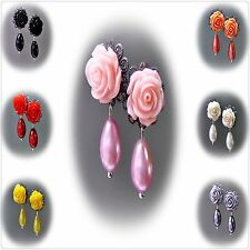 Earrings, rose and pearl petite drop, choose clip on or pierced