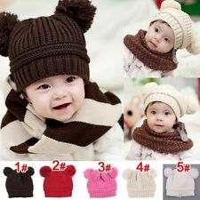 Cute Soft Knitting Wool Beanie Hat Cap 2 balls Gift for Baby Kids Boys Girl uf
