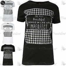Ladies the Most Beautiful Things Womens Dogtooth Top Turn Up Cap Sleeve T Shirt
