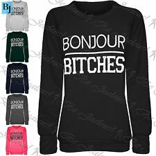 New Womans Ladies Bonjour Bitches Fleece Knitted Jumper Sweatshirt Top Plus Size