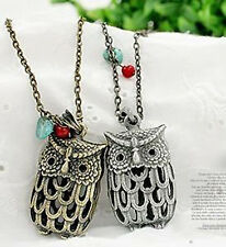 New Vintage Bronze Sliver  Stone Hollow Out Lovely Owl Pendant Necklace