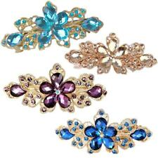 Fashion Women Crystal Rhinestone Flowers Hair Clips Pins Barrette Jewelry Gift