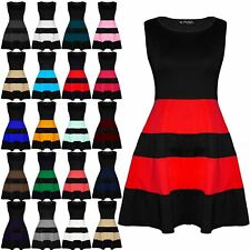 Womens Ladies Coloured Blocks Stripe Panel Flared Franki Skater Dress Plus Size