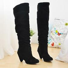 Sexy Womens Over Knee Faux Suede Stretch Thigh High Slouchy high Heel Boots Shoe