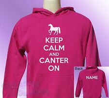 Pink Hoodie KEEP CALM and CANTER ON horse ride riding PERSONALISED with name