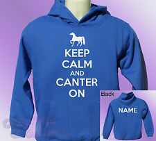 Royal Blue Hoodie KEEP CALM and CANTER ON horse ride riding PERSONALISED name