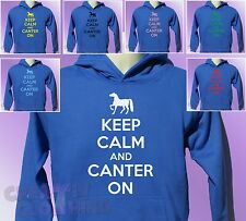 Royal Blue Hoodie KEEP CALM and CANTER ON boys girls Horse Riding Ride hoody