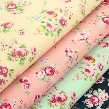 PINK ROSE FLOWER VINTAGE RETRO Cotton Fabric Shirt Dress Quilt Craft VA78 per FQ