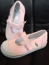 Polo Ralph Lauren Girls Sedena Mary Janes Baby Pink Canvas Shoes NEW FREE SHIP