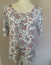 EX BHS WHITE PINK JERSEY FLORAL PAISLEY PRINT T SHIRT TOP SIZE 8 12 14 16