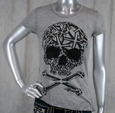 AFFLICTION women's RISING STAR skull t-shirt asymmetrical top  111KN028