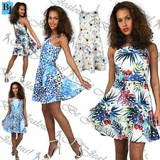 Womens Ladies Printed Cami Flared Hi Neck Top Swing Mini Skater Dress Plus Size