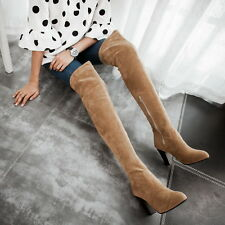 Womens High Block Heel Faux Suede Side Zipper Over The Knee Thigh High Boots Sz